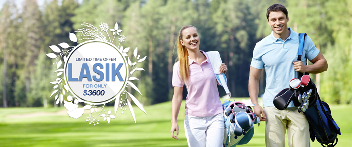 Couple playing golf after LASIK